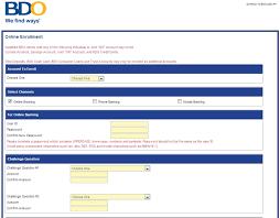 bdo new banking enrolment form