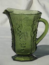 vintage anchor hocking green glass gs pattern pitcher ah paneled g