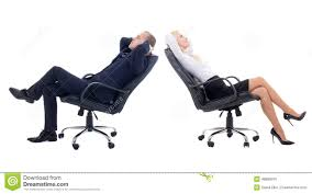 office furniture women. Business Woman And Business Man Sitting On Office Chairs Isolate Furniture Women N