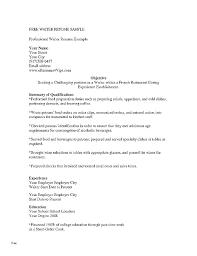 Sample Waitress Resumes Example Of A Waitress Resume Example Of Resume For Waitress