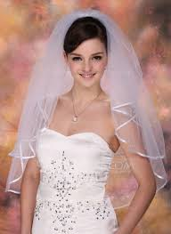 Two Tier Elbow Bridal Veils With Ribbon Edge 006005419 Wedding