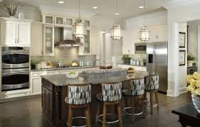 unique kitchen island lighting. Three Pendant Unique Kitchen Island Lighting With Grey Granite Countertop Four Padded Chairs Stainless Steel Appliances White Wooden Cabinet In I