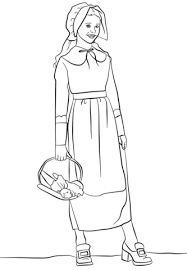 Small Picture Pilgrim Girl coloring page Free Printable Coloring Pages