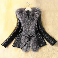 long sleeves solid color faux fur collar stylish faux leather coat for women