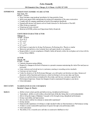 Actor Resume Samples Velvet Jobs