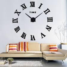 new home decoration quartz metal mirror clocks fashion personality diy circular living room wall clock watch in wall clocks from home garden on