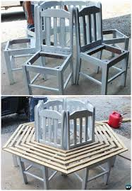 diy recycled chair around tree bench instruction ways to repurpose old chairs diy ideas