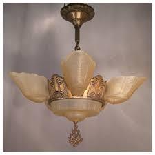 deco glass chandelier 16 slip shade hanging light best vintage lamp lighting bbb antiques seattle vancouver portland sanfrancisco losangeles