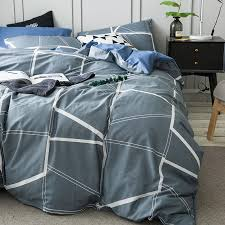 grey brief duvet cover set for men white stripes quilt cover blue solid color bed sheets pillow case cotton 100 bedding queen king duvet cover clearance