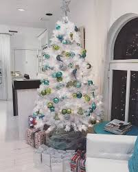 Blue And Green Balls Decoration On White X Mas Tree