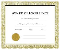 Award Certificate Template Template Award Of Excellence Template 6