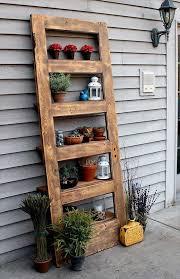 recycling old wooden doors outdoor flower pots shelves creative backyard idea