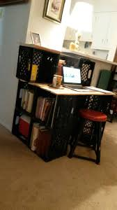 old plastic milk crates zip ties and pallet wood made a simple desk with