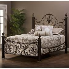 Metal Bed Bedroom Mikelson Mixed Wood Iron Bed In Aged Antique Gold By Hillsdale