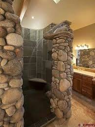 Rustic shower at the cabin lake house Perfect Powder Rooms