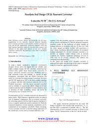 Resonant Converter Design Ananlysis And Design Of Llc Resonant Converter