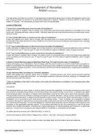 Dishwasher Purchase And Installation Statement Of Warranties Ariston Ariston Li 640 I B S W User