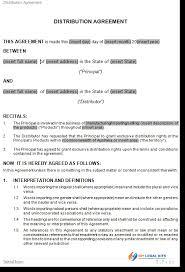 Distributor Agreement Template Australia Distribution Distributor