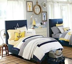 navy and yellow bedding a little too pottery barn themed out for me but i like the touch of yellow to go with the bedding i just ordered for nautical