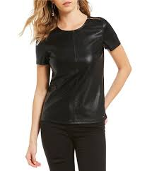 short sleeve womens armani exchange faux leather tee solid black gift to live