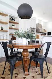And if you prefer a small rustic table with clean lines, there round industrial farmhouse dining table: Farmhouse Round Dining Table For 8 Novocom Top