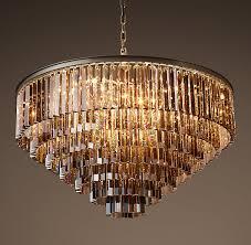 Люстра rh 1920s odeon smoke glass fringe chandelier 80 100