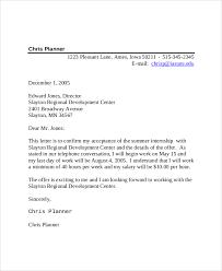 Summer Internship fer Acceptance Letter