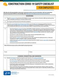 construction covid 19 checklists for