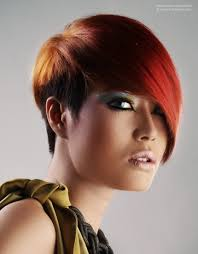 Short Asian Hair Style red asian hair with a very short neck and a long fringe 8120 by wearticles.com