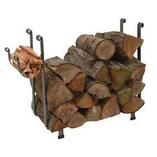 Large Rectangular Log Rack with Hammered Steel Finish