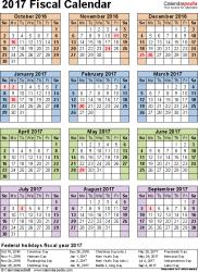 Calendar Quarters Fiscal Calendars 2017 As Free Printable Pdf Templates