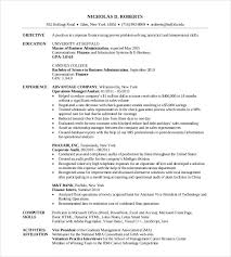 resume for mba