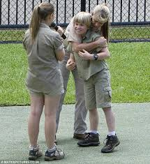 steve irwin son. ecstatic: his mother terri embraced him as sister bindi, 15, gave a steve irwin son l