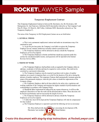 Work Contract Templates Simple Temporary Employment Contract Agreement Template With Sample