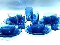 clear blue glass dishes dinnerware set sets red purple dinner depreion gla
