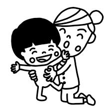 子どもをくすぐるお母さんのイラスト 白黒ヤギさん フリー素材イラスト