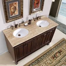 55 inch double vanity.  Vanity Silkroad Exclusive HYP0208TUWC55 Jessica 55 Inch Double Sink Vanity   Travertine Top  White  Inside O