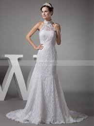 vintage high neck lace over satin mermaid wedding dress