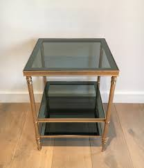 set of three coffee tables side tables in golden nickel steel with three glass trays set