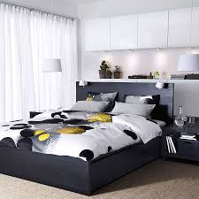 bedroom design ikea. Bedroom View In Gallery Bedding Black And White Wit Pops Of Yellow Design Ikea