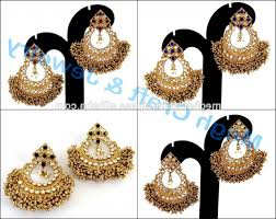 indian lovely kundan earrings punjabi wedding wear chandelier earring heavy