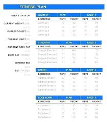 Weight Training Program Template Card Gym Workout Free Chart