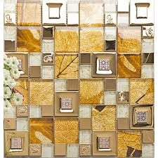 gold 304 stainless steel tile metal tiles yellow crystal glass mosaic tile wall backsplashes new design kitchen