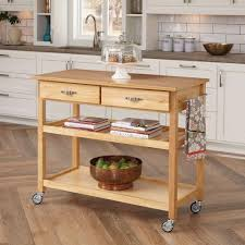 home styles natural kitchen cart with storage