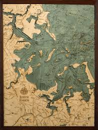Boston Harbor Chart Boston Harbor 3 D Nautical Wood Chart 24 5 X 31 Dark Frame