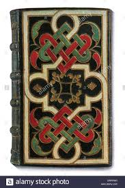lyonnaise leather book binding interlaced design celtic front cover xvi 16th century stock image
