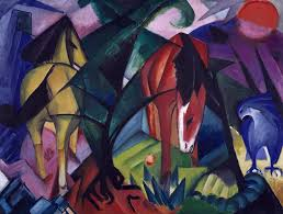 abstract painting horse and eagle by franz marc