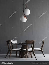 Grau Und Holz Minimalistisch Esszimmer Interieur Stockfoto
