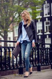 rebecca laurey is wearing leather jacket from west 14th light blue shirt from mango