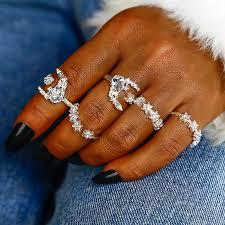 NJ12 <b>5PCS</b>/<b>SET</b> Blue White Crystal Rings Set for Women <b>Bohemian</b> ...